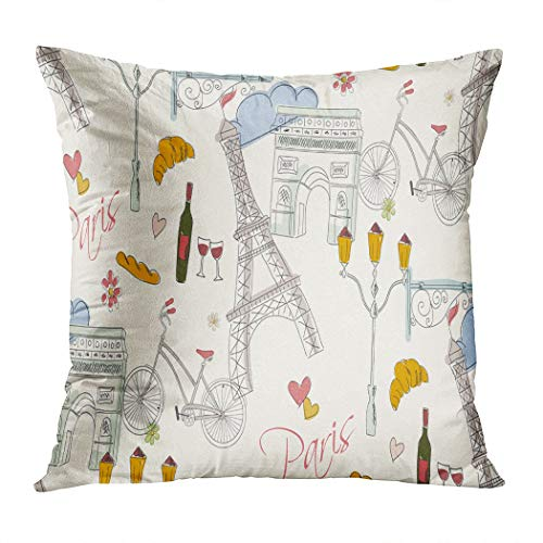 Janyho Throw Pillow Cover Paris Symbols Postcard Pattern Paris Doodle French Tower Bike Bistro Living Room Sofa Bedroom Polyester Hidden Zipper Pillowcase Cushion Cover 16x16 Inch