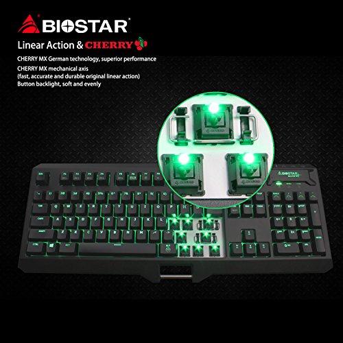 Biostar Keyboard GK1 PRO Gaming Silent Mechanical Keyboard, Backlit Green LED, Cherry MX Black Switches