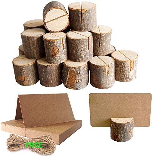 (JINMURY 20 Pcs Rustic Wood Place Card Holders Wedding Table Number Holder Stand Wooden Base Bark Memo Note Photo Picture Clip Holders and Kraft Place Cards for Rustic Wedding Party Decoration)