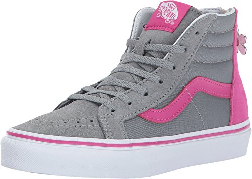 (Vans Kids Sk8-Hi Zip (Flower Zip) Skate Shoe (Flower Zip) Monument/Very Berry)