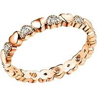 Haluoo S925 Sterling Silver Heart Ring,Infinity Diamond Love Heart Engagement Ring Cubic Zirconia Cz Eternity Wedding…