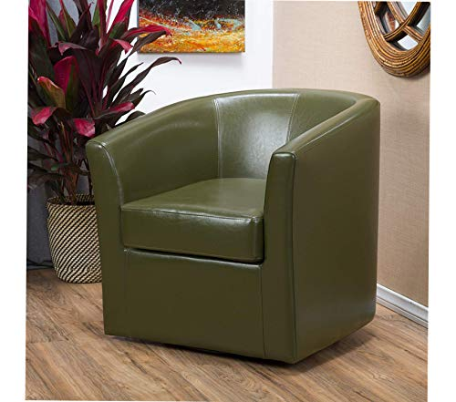 Premium Daymian Faux Leather Swivel Club Chair, Tea Green