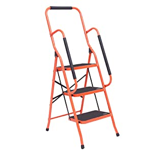 LUISLADDERS 3 Step Ladder Tool Ladder Folding Portable Steel Frame Ladders Safety Padded Handrails with Large Area Pedals for Kitchen Home and Office (330lbs)