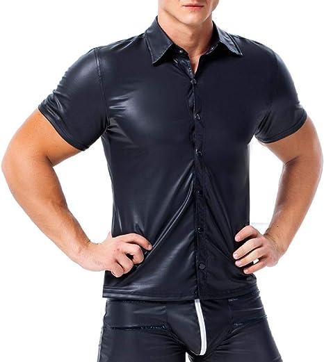 AKAKKSKY Camisas de Cuero Metalizado Brillante para Hombre, Camiseta de Talla Grande de Manga Corta con Botones,S-XXXL: Amazon.es: Deportes y aire libre