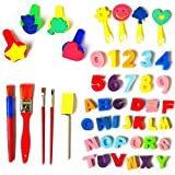 Myboree Sponge Painting Brushes Kids Painting Kits Foam Brushes,Art Craftssponge brush, Numbers Sponge and 26 English letters Brushes Set of 49 Pieces