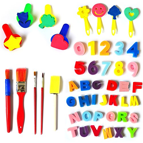 Myboree Sponge Painting Brushes Kids Painting Kits Foam Brushes,Art Craftssponge brush, Numbers Sponge and 26 English letters Brushes Set of 49 Pieces by Myboree