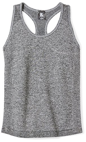 Starter Girls' Seamless Light-Compression Tank Top, Prime Exclusive, Iron Grey Jaspe, M (7/8) by Starter (Image #1)