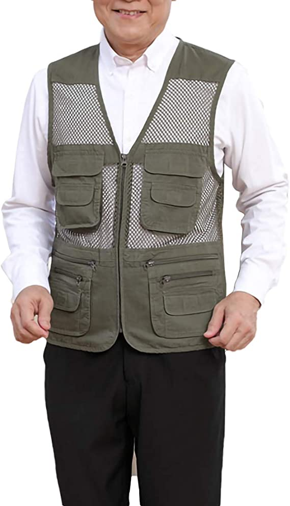 Outdoor Fly Fishing Vest with Multiple Pockets Plus Size Auart Lightweight /Fishing /Vest Waistcoat Jacket Coat for Outdoors Stream Fishing Color : Green, Size : 2XL