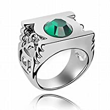 Gambulin Crystal Green Lantern Logo Ring Size 7.5 (Green),Crystal Ring for Men