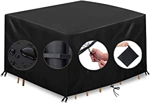 KXT Outdoor Patio Furniture Covers 420D Oxford Patio Furniture Set Covers, Waterproof, Rain Snow Dust Wind-Proof, Anti-UV Patio Table Cover (Black, 110 X 110 X 70/43''X43''X27'')