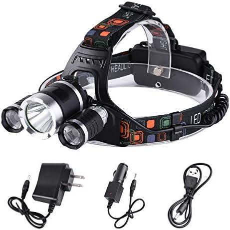 KBook ヘッドライト led 充電式 3x T6leds 角度調節可 ワークライト 作業灯 超強力超明るい 充電式 4モード 防水防災ヘッドランプ 実用ライト 釣り、登山、キャンプなどのアウトドア活動に一番のコンパニオン