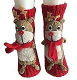 presox non-slip knit sweater warm household floor socks for women red elk