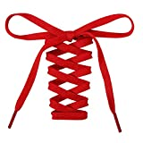 Handshop Flat Shoelaces 5/16' - Shoe Laces Replacements For Sneakers and Athletic Shoes Boots Red 137cm