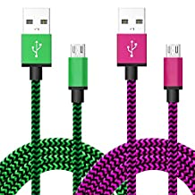 [Micro USB to USB Cable] [2-PACK]6.6 Feet Nylon Braided Fabric Micro USB Android cable Charging & Sync Data Charger Cable Cord for Android samsung and More (green+rose)