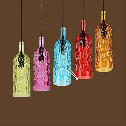 Bottle Shop Cafe (Creative 1 Head Colored Glass Wine Bottle Chandelier Bar Cafe Restaurant Ceiling Light Shop Home Decor Pendant Lamp,Green/1027cm)