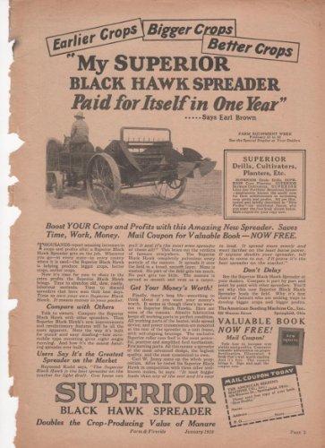 Superior Black Hawk Manure Spreader Tractor Ad 1928 Farm Antique Advertisement ()