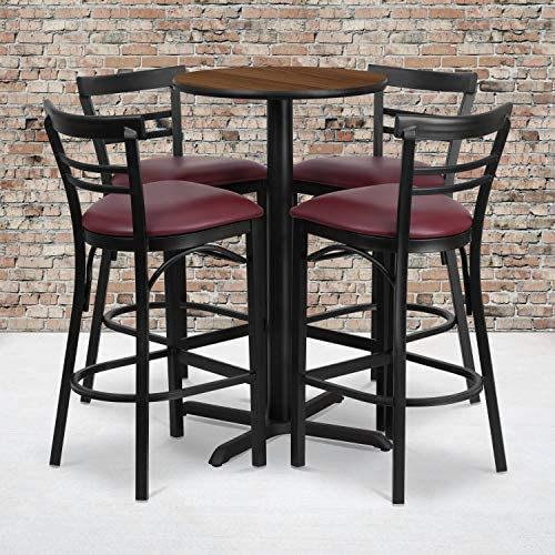 Flash Furniture 24 Round Walnut Laminate Table Set with X-Base and 4 Two-Slat Ladder Back Metal Barstools – Burgundy Vinyl Seat