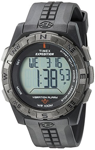 Timex Men's T49851 Expedition Vibration Alarm Black Resin Strap Watch ()