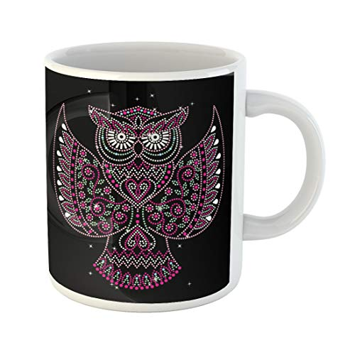 (Semtomn Funny Coffee Mug Rhinestone Applique for T-Shirt Hot Fix Transfer Owl Motif Design 11 Oz Ceramic Coffee Mugs Tea Cup Best Gift Or)
