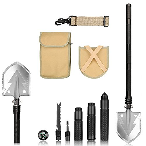 Folding Shovel,iDeep Camping Shovel High Aluminium Alloy Handle,Shovel Multitool Survival Shovel Collapsible Shovel with Pick Bottle Opener with Carry Bag for Outdoor Camping Gardening Emergency by iDeep (Image #1)