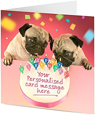 Wondrous Personalised Birthday Cake With Pug Dogs Blowing Out Candles Funny Birthday Cards Online Bapapcheapnameinfo