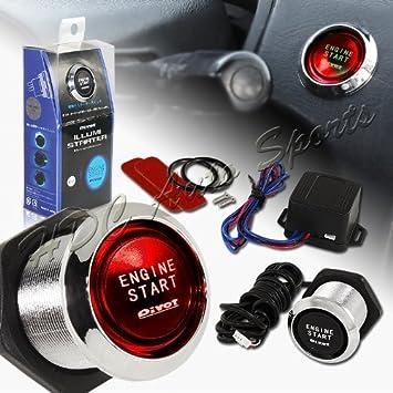 12V Racing Red LED Engine Push Start Button Switch Ignition Starter Kit