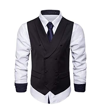 c88ae963b0886 C H Mens Double-Breasted Waistcoat Suit Business Sleeveless Work Vest Black  XXS