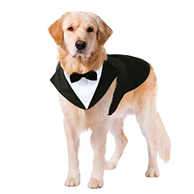 Dog Suit Wedding Shirt Formal Tuxedo with Black Bow Tie Pet Costume Dog Black Wedding Jackets Suit Puppy Prince Ceremony Bow Tie Suit Clothes