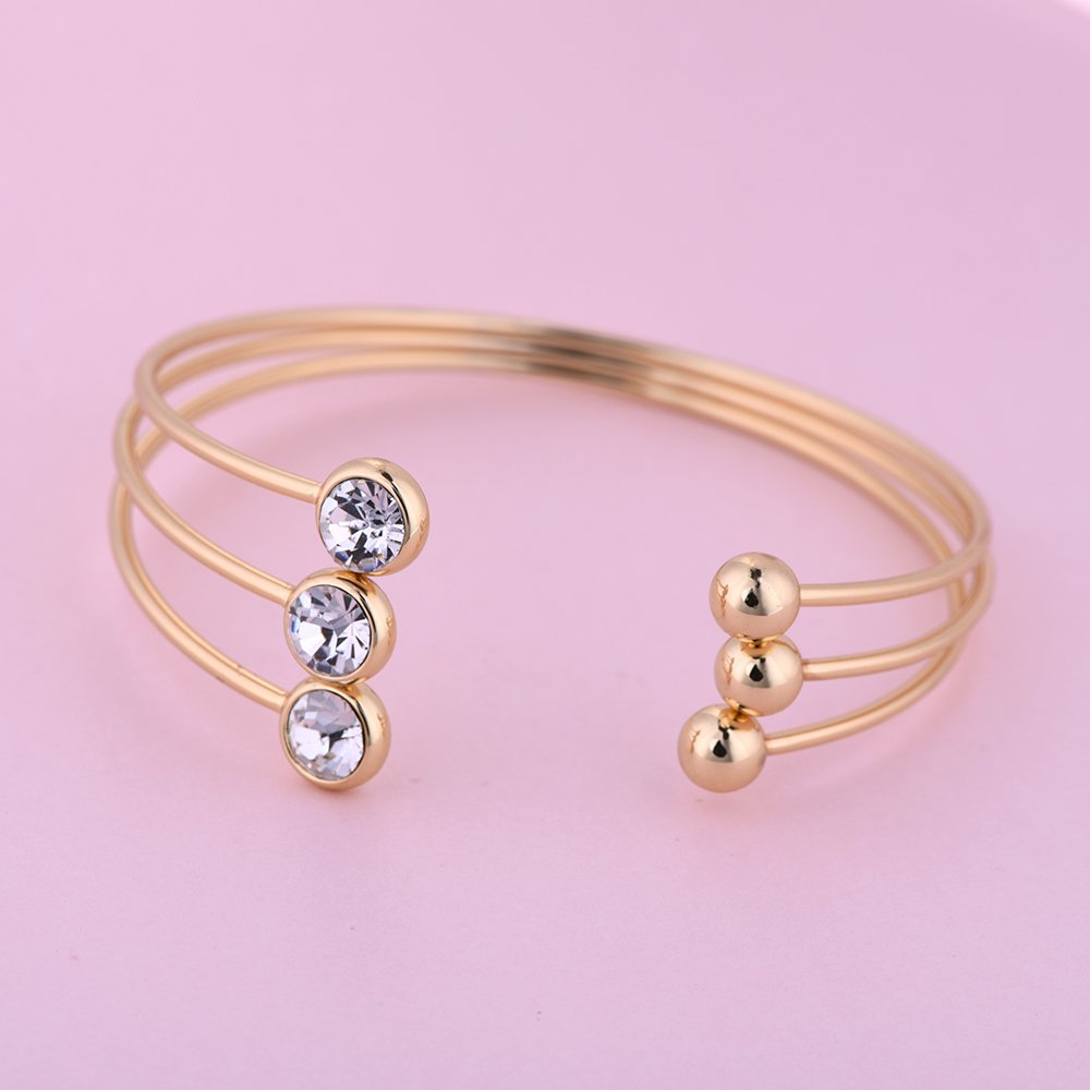 RUXIANG Punk Multilayer Liner Bangle Crystal Disc Cuff Adjustable Open Bracelet Jewelry