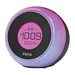 iHome Bluetooth Color Changing Dual Alarm FM Clock Radio with Speakerphone & USB Charging, Multicolor (Non-Retail Packaging)