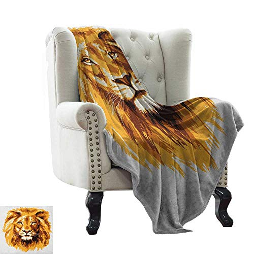 Blanket Basket Safari,Illustration of The Lion King Biggest Cat in Africa Icon Animal in Tropics Artwork, Orange White Winter Luxury Plush Microfiber Fabric 30