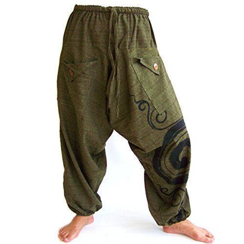 Siamrose Boho Hippie Harem Pants, Baggy Pants Men Women, One Size, Green -