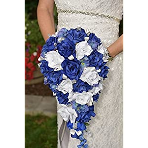Angel Isabella 2pc Set: Cascade Bridal Bouquet & Boutonniere W/bling: Royal Blue White - Silk Flowers 3