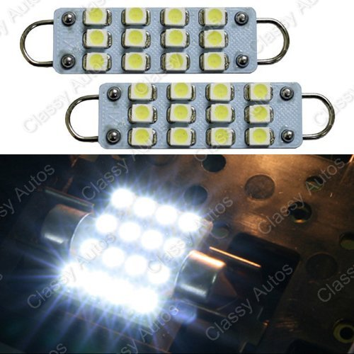 Classy Autos Bright White LED Bulbs 12 SMD Festoon lights 42mm to 44mm Rigid Loop (A Pair)