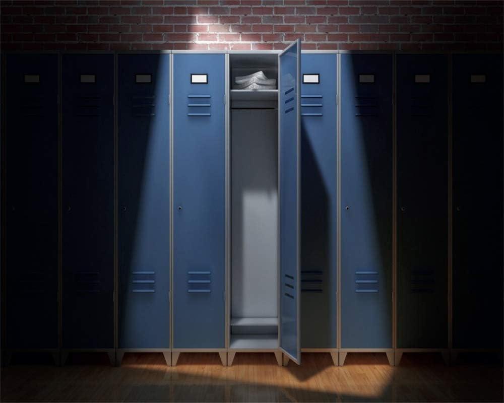 YEELE Cartoon Locker Room Backdrop 12x8ft Gym or School Sport Dressing Room Photography Background Changing Room Interior Gym Club Event High School Gathering Photo Studio Props Wallpaper