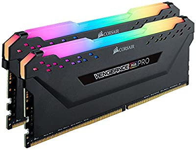 Corsair CMW32GX4M2C3200C16 Vengeance RGB PRO 32GB (2x16GB) DDR4 3200 (PC4-25600) C16 Desktop Memory Black