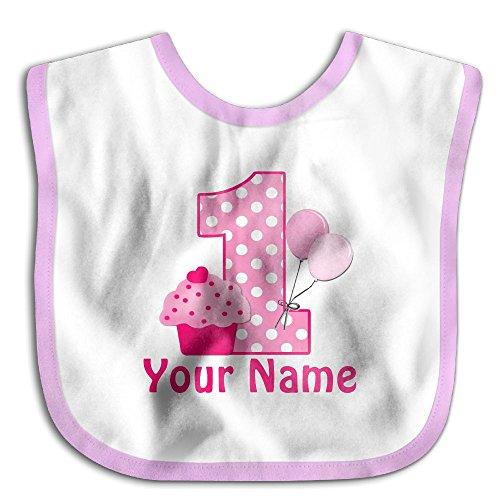 Personalized Birthday Bib (YE000QF 1st Birthday Cupcake Pink Personalized Waterproof Bibs The Baby Bibswoman Teething Bibs)