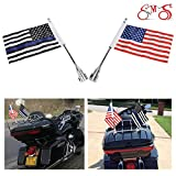 E-Most 1 Pairs, Adjustable 6'' x 9'' American Flag & Foot Thin Blue Line USA Flag + Flag Pole Mount For Motorcycle Luggage Rack with 0.472~0.512 inch diameter,Rear Fender Nut Mounting Hole 0.315 inch