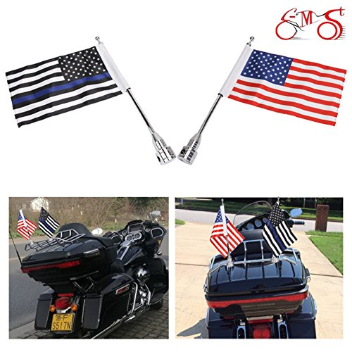E-Most 1 Pairs, Adjustable 6'' x 9'' American Flag & Foot Thin Blue Line USA Flag + Flag Pole Mount For Motorcycle Luggage Rack with 0.472~0.512 inch diameter,Rear Fender Nut Mounting Hole 0.315 inch by E-Most