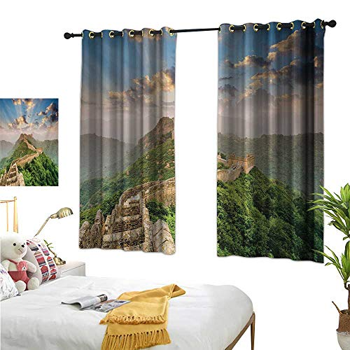 Warm Family Double Curtain Rod Great Wall of China,Oriental Medieval Blockade on High Lands Old Wonders The Past Picture,Blue Green 84