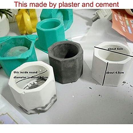 Molde para cemento de hormigón, maceta de cemento, arcilla, moldes de silicona, orificio de poligonal, cemento, sílice, gel: Amazon.es: Amazon.es