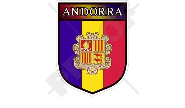 andorran Shield Andorra La Vella 100 mm (4) vinilo Bumper, adhesivo: Amazon.es: Jardín