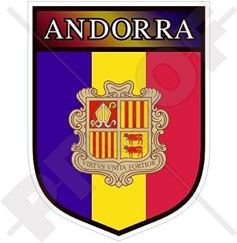 andorran Shield Andorra La Vella 100 mm (4) vinilo Bumper, adhesivo