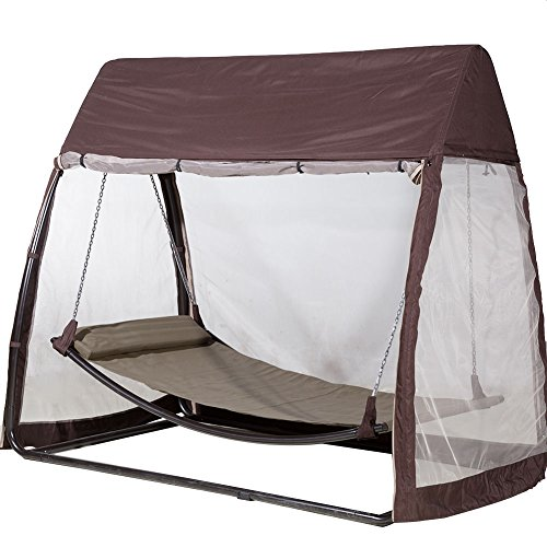 Abba Patio Outdoor Canopy Cover Hanging Swing Hammock with Mosquito Net 7.6x4.5x6.7 Ft, Chocolate by Abba Patio