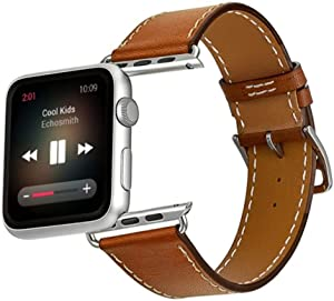 Leather Band Compatible with Apple Watch 38mm 40mm,Genuine Leather Strap Compatible with iWatch Series 6 5 4 3 2 1 For Men Women
