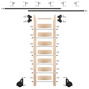 QG Rolling Ladder Kit with 8' Maple Ladder and 12' of Railing, Black