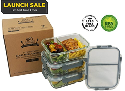 [3-Pack] 2 Compartment Bento Box Leak Proof Glass Meal Prep Food Storage Lunch Containers - Portion Control for Keto, DASH and Mediterranean Diet - BPA Free - Free Keto Cookbook Sample