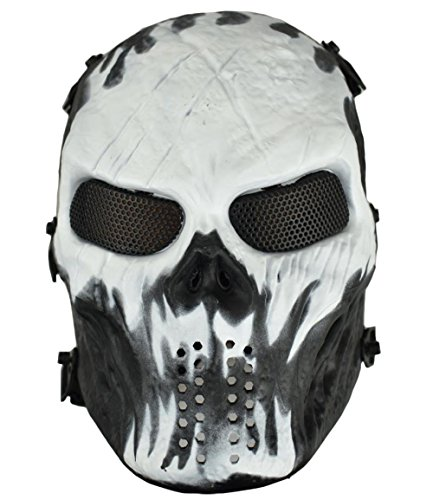 (Jadedragon Tactical Paintball Full Face Skull Skeleton Mask with Metal Mesh Eye Protection For Airsoft/BB/CS Game (Black/White))