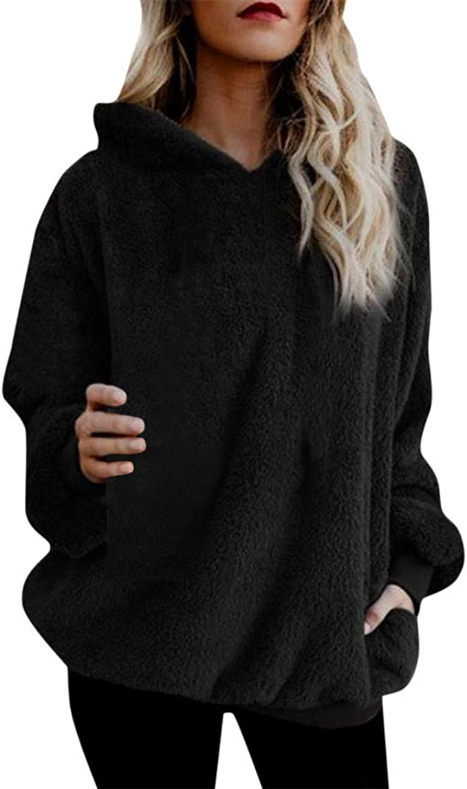 good selling outlet store sale 100% top quality Amazon.com: Alangbudu Women Fluffy Velvet Long Sleeve Baggy Hoodie ...