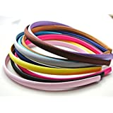 10 Mixed Color Plastic Headband Covered Satin Hair Band 9mm for DIY Craft Hot
